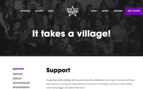 Screenshot of Support Page rosecityrollers.com - Rose City Rollers // Support - captured Nov. 7, 2018
