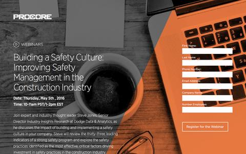 Screenshot of Landing Page procore.com - Building a Safety Culture: Improving Safety Management in the Construction Industry - captured April 21, 2016