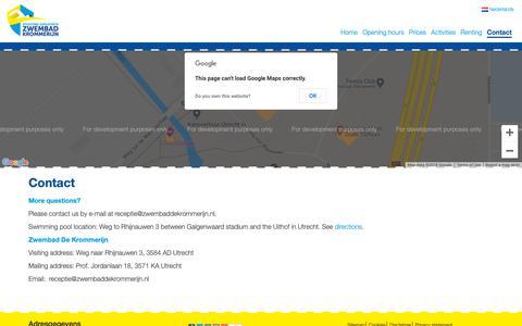 Screenshot of Contact Page zwembaddekrommerijn.nl - Zwembad de Krommerijn in Utrecht contact, route en adresgegevens Zwembad de Krommerijn - captured Nov. 21, 2018