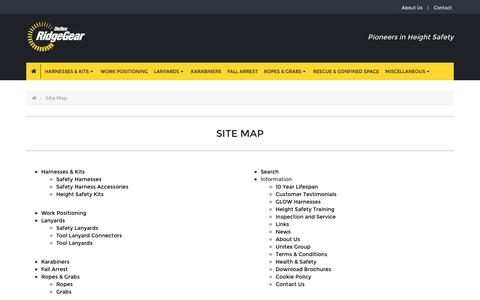 Screenshot of Site Map Page ridgegear.com - Site Map - captured Aug. 14, 2016