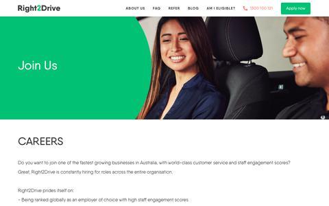 Screenshot of Jobs Page right2drive.com.au - Careers - captured Nov. 17, 2018