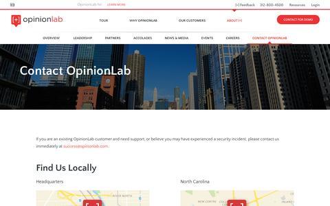 Screenshot of Contact Page opinionlab.com - Contact OpinionLab - OpinionLab - captured Feb. 10, 2016