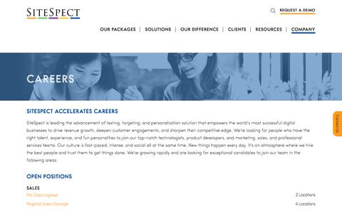 Screenshot of Jobs Page sitespect.com - Careers | SiteSpect - captured March 17, 2018