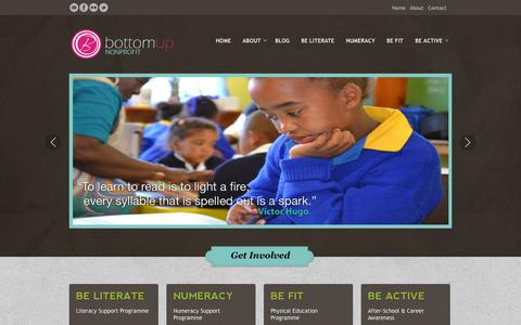 Screenshot of Home Page bottomup.biz - Bottomup - Nurturing a Sense of Pride, Identity & Belonging - captured Sept. 30, 2014