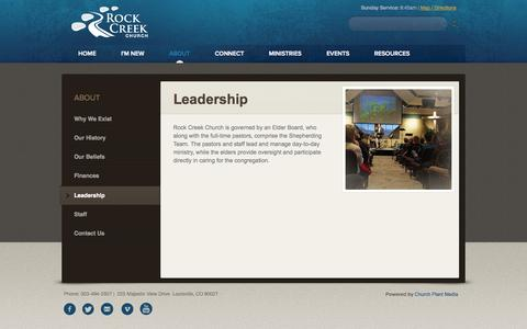 Screenshot of Team Page rockcreekchurch.org - Rock Creek Church: Louisville, CO > Leadership - captured Oct. 26, 2014