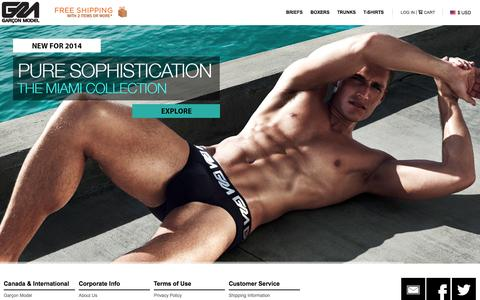 Screenshot of Home Page About Page Privacy Page Contact Page Site Map Page Login Page Terms Page garconmodel.com - Garçon Model® Official - Underwear with Superior Style - captured Oct. 2, 2014