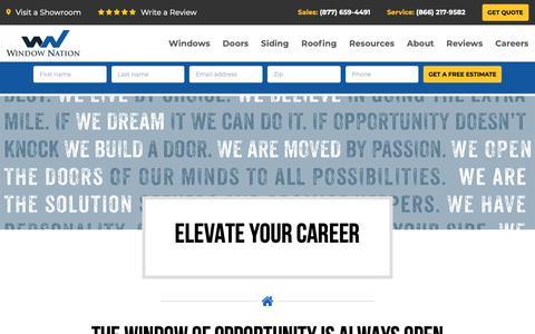 Screenshot of Jobs Page windownation.com - Careers At Window Nation | Job Openings - captured April 15, 2019