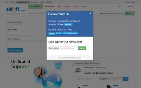 Screenshot of Support Page zidoff.com - Zidoff.com - Support - captured Oct. 19, 2018