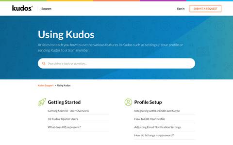 Screenshot of Support Page kudosnow.com - Using Kudos – Kudos Support - captured July 8, 2019