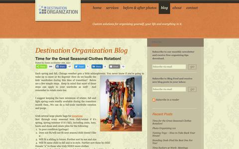Screenshot of Blog destorg.com - Get Organized Blog: Organizing Tips, Time Management, Storage Products | Destination Organization - captured Oct. 8, 2018