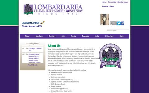 Screenshot of About Page lombardchamber.com - About Us - Lombard Area Chamber of Commerce and Industry, IL - captured Sept. 30, 2018