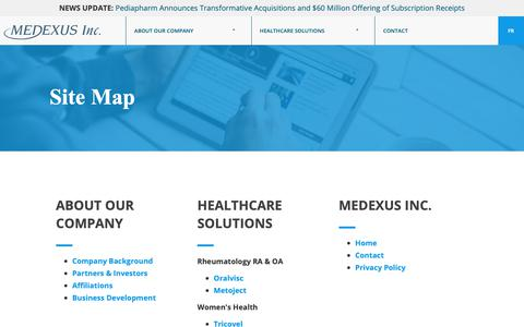 Screenshot of Site Map Page medexus.ca - Sitemap | Medexus Inc. - captured Oct. 17, 2018