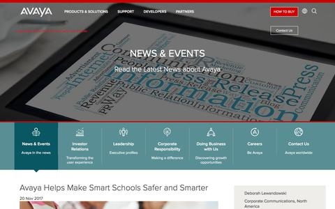Screenshot of Press Page avaya.com - Avaya Helps Make Smart Schools Safer and Smarter - captured Aug. 11, 2018