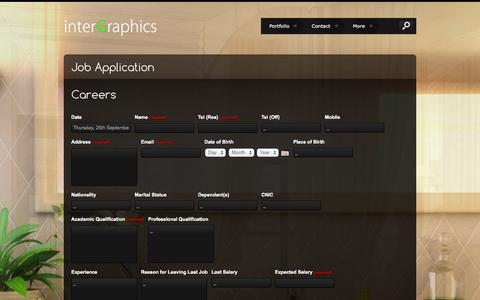 Screenshot of Jobs Page intergraphicscna.com - Job Application | - captured Sept. 24, 2014
