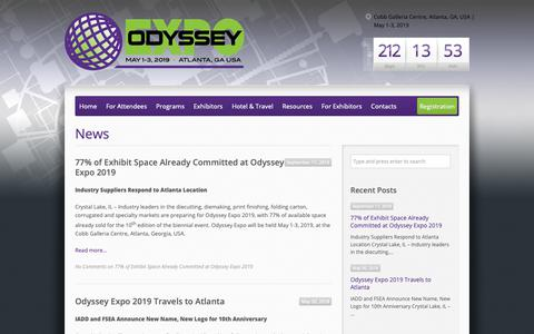 Screenshot of Press Page odysseyexpo.org - News – Odyssey Expo - captured Oct. 1, 2018