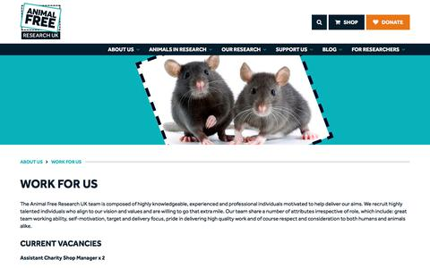 Screenshot of Jobs Page animalfreeresearchuk.org - Animal Free Research UK | Pages | Work for us - captured June 5, 2017