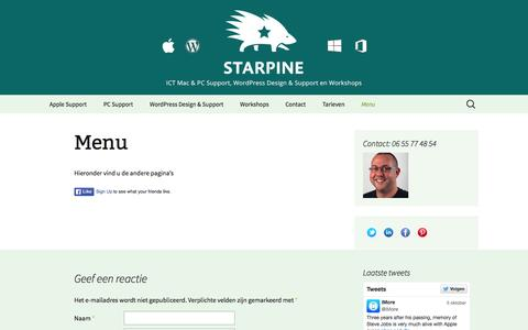 Screenshot of Menu Page starpine.nl - Menu - StarPine Support - captured Oct. 7, 2014