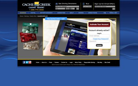 Screenshot of Login Page cachecreek.com - Cache Creek - Gaming - Cache Club - Mycachecreek.com - captured April 26, 2016