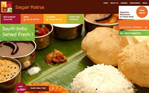 Screenshot of Home Page sagarratna.in - Sagar Ratna Restaurants - captured Oct. 3, 2014