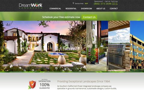 Screenshot of Home Page dreamworklandscape.com - DreamWork Commercial & Residential Landscaping - captured Oct. 6, 2014