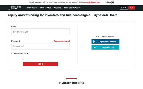 Screenshot of Login Page syndicateroom.com - Equity crowdfunding for investors and business angels – SyndicateRoom - captured Aug. 18, 2016