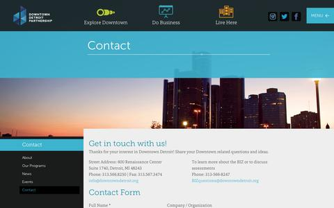 Screenshot of Contact Page downtowndetroit.org - Downtown Detroit Partnership Contact » Downtown Detroit Partnership - captured Oct. 6, 2014