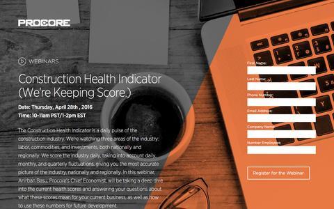 Screenshot of Landing Page procore.com - Construction Health Indicator (We're Keeping Score.) - captured April 27, 2016