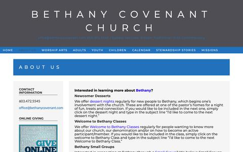 Screenshot of About Page bethanycovenant.com - About Us – Bethany Covenant Church - captured Nov. 13, 2018