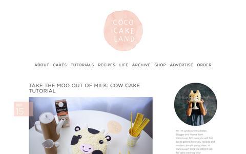 Screenshot of Home Page cococakeland.com - Coco Cake Land | Modern Cake and Dessert Blog. Tutorials, Recipes and Parties. - captured Sept. 19, 2014