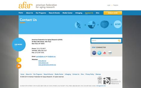 Screenshot of Contact Page afar.org - American Federation for Aging Research  : Contact Us - captured Oct. 4, 2014