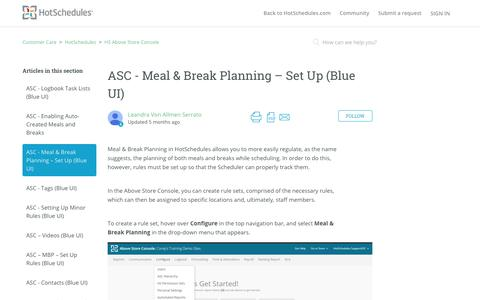 Screenshot of Support Page hotschedules.com - ASC - Meal & Break Planning – Set Up (Blue UI) – Customer Care - captured March 8, 2018