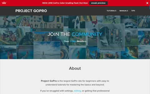 Screenshot of Home Page projectgo.pro - Project GoPro » Easy to Understand GoPro Tutorials - captured Sept. 24, 2018