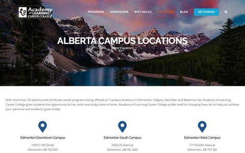 Screenshot of Locations Page academyoflearning.ab.ca - Campus Locations in Alberta   Academy of Learning College - captured Oct. 2, 2018