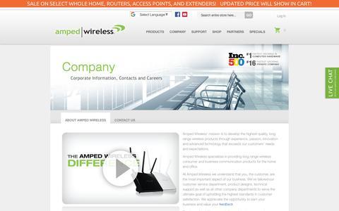 Screenshot of About Page ampedwireless.com - Company - captured July 30, 2018
