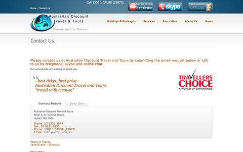 Screenshot of Contact Page adtt.com.au - Contact us we are ready and willing to lend assistanceAustralian Discount Travel and Tours - captured Nov. 5, 2014