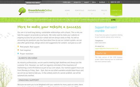 Screenshot of Support Page greenschoolsonline.co.uk - Support - Websites for Schools - captured Oct. 3, 2014