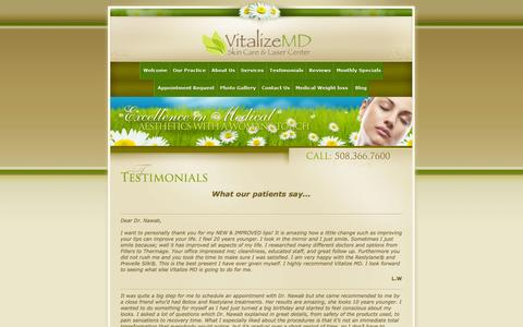 Screenshot of Testimonials Page vitalizemd.com - Vitalize MD - Testimonials - captured Oct. 9, 2014