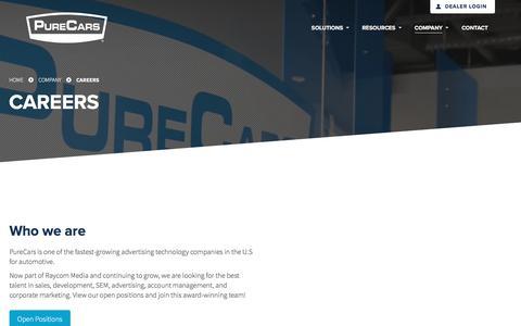 Screenshot of Jobs Page purecars.com - Careers & Open Positions | Company | PureCars Digital Solutions - captured Jan. 6, 2018