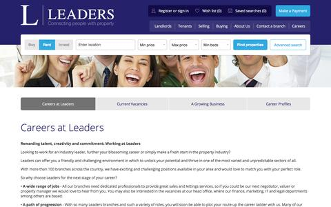 Screenshot of Jobs Page leaders.co.uk - Letting and estate agent jobs at Leaders - captured July 6, 2017