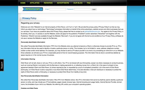 Screenshot of Privacy Page clickrover.com - Click Rover affiliate network privacy policy. - captured Sept. 19, 2014