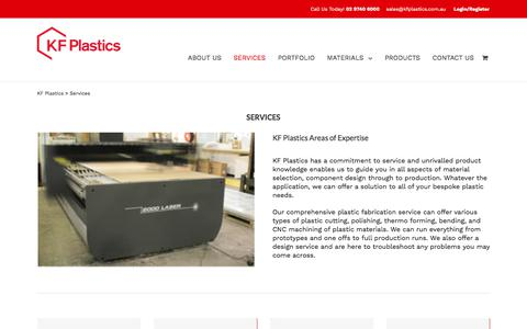 Screenshot of Services Page kfplastics.com.au - Plastic Fabrication Services | Plastic Sheets & Displays | KF Plastics - captured Sept. 20, 2018