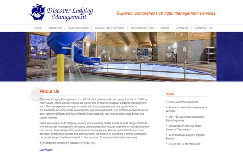 Screenshot of About Page discoverlodging.net - Discover Lodging Management | About Us - captured Oct. 12, 2017