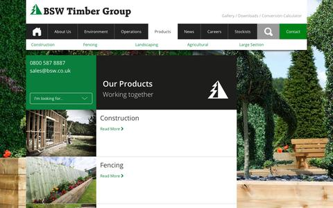 Screenshot of Products Page bsw.co.uk - Products • BSW Timber - captured Sept. 15, 2017