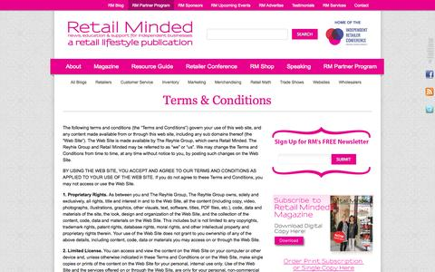 Screenshot of Terms Page retailminded.com - Terms & Conditions ‹ Retail Minded - captured Sept. 19, 2014