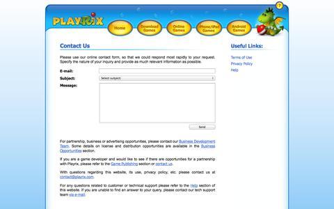 Screenshot of Contact Page playrix.com - Contact Us - Playrix Entertainment - captured Sept. 19, 2014