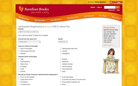 Screenshot of Signup Page barefootbooks.com - Barefoot Books :: About You - captured Sept. 23, 2014