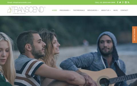 Screenshot of Home Page transcendrc.com - Transcend Recovery Community – Sober Living Los Angeles, Santa Monica, Beverly Hills & New York - captured March 5, 2016