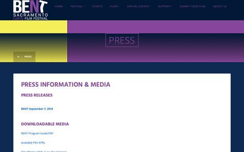 Screenshot of Press Page bentfilmfest.org - PRESS - BENT - Sacramento LGBTQ Film Festival LGBTQ Film Festival - captured Oct. 25, 2018