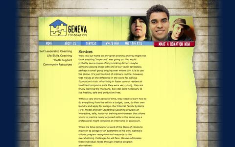 Screenshot of Services Page geneva4youth.org - Services | Geneva Foundation - captured Oct. 2, 2014