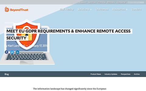 Screenshot of Privacy Page beyondtrust.com - Meet EU GDPR Requirements & Enhance Remote Access Security | BeyondTrust - captured Dec. 14, 2019